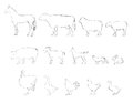 Farm animals collection hand drawn illustration set livestock horse cow and chicken cock goat hen Stock Photo