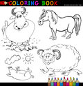 Farm Animals for Coloring Book or Page Stock Photo