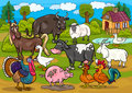 Farm animals country scene cartoon illustration Royalty Free Stock Image