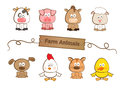 Farm animals cute set of eight eps Royalty Free Stock Images