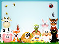 Farm animals frame illustration of Royalty Free Stock Images