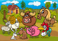 Farm animals group cartoon illustration Stock Photography