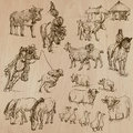 Farm animals hand drawn vector pack around the world part collection of an illustrations each drawing comprise of two or three Stock Photos