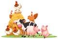 Farm animals with haystack Royalty Free Stock Photo