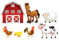 Farm animals illustration of the on a white background Stock Photography