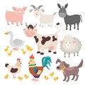 Farm animals. Pig donkey cow sheep goose rooster dog cartoon kids animal isolated set