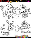 Farm animals set cartoon coloring book or page illustration of black and white characters for children Stock Images