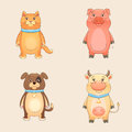 Farm animals set cat dog pig cow Royalty Free Stock Photo