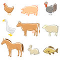 Farm animals set vector illustration Royalty Free Stock Photos