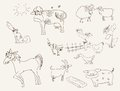 Farm animals set of vector sketches Royalty Free Stock Photos