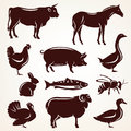 Farm animals silhouette collection Royalty Free Stock Photo