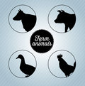 Farm animals silhouettes over blue background vector illustration Royalty Free Stock Photography
