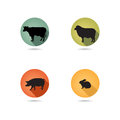 Farm animals symbols. Livestock icon silhouette set.