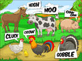 Farm animals talks sound cartoon illustration