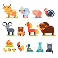 Farm animals vector set domestic farming characters cow and sheep, pig, turkey, dog, horse and cat farmer animals Royalty Free Stock Photo