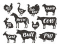 Farm animals, vector set icons. Collection of silhouettes