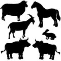 Farm animals vector silhouettes set Royalty Free Stock Photography