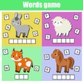 Farm animals. Write missing letters and complete words. Crossword for kids and toddlers. Educational children game.