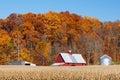 Farm and Autumn Hillside Stock Photo