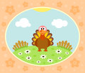 Farm background with funny turkey Stock Images