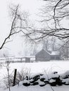 Farm: barn in fog and snow - v Stock Photography
