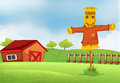 A farm with a barn and a scarecrow illustration of Stock Photo