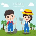 Cute farmer boy and girl in the big farm.