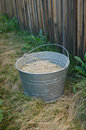 Farm Bucket on Dry Grass by Fence Stock Photo