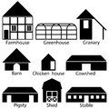 Farm buildings icons vector illustration black and white version Stock Photo