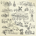 Farm collection hand drawn illustration Stock Images