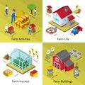 Farm Concept 4 Isometric Icons Square Royalty Free Stock Photo