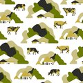 Seamless pattern with residences and farms, trees, hills and cows.