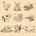 Farm emblems set of vector illustration Stock Image