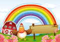 A farm with an empty wooden board and a rainbow above Royalty Free Stock Image
