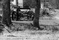 Farm equipment from the past old used heritage memories pioneers black and white history Stock Image