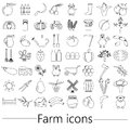 Farm and farming big simple outline icons set vector eps10 Royalty Free Stock Photo