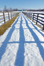 Farm fence and lines of shadows in winter time Stock Photos