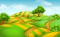 Farm field landscape. vector background