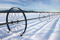 Farm field in winter. Stock Photos