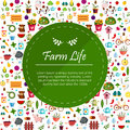 Farm flat banners depicting life in countryside animals isolated vector background Royalty Free Stock Photo