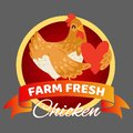 Farm fresh chicken banner vector illustration. Happy hen holding heart. Selling organic and natural food. Advertisement
