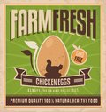 Farm fresh chicken eggs retro poster design for vintage label for premium quality natural healthy food vector design for gmo free Stock Image