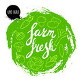 Farm fresh hand written phrase with vegetables on stylized green rough circle. Line icons of veggies.