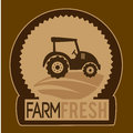 Farm fresh label over brown background vector illustration Royalty Free Stock Image