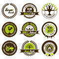 Farm fresh label set with differently varied modern vintage elements eps no transparencies ideal for prints Royalty Free Stock Photos