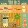 Farm fresh organic products vintage card retro food emblems illustration Stock Image