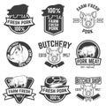 Farm fresh pork meat emblems. Design elements for logo, label, s