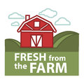 Farm fresh product label vector farmer barn template Royalty Free Stock Photo