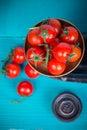 Farm fresh tomatoes on vintage scale Royalty Free Stock Photo