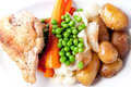 Farm fresh vegetables, roasted chicken and fingerling potato Royalty Free Stock Photo